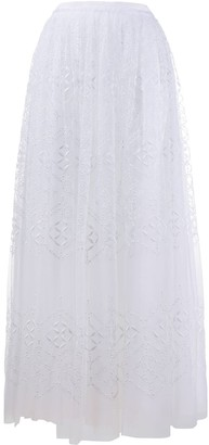 Ermanno Scervino Lace-Panel Tulle Skirt