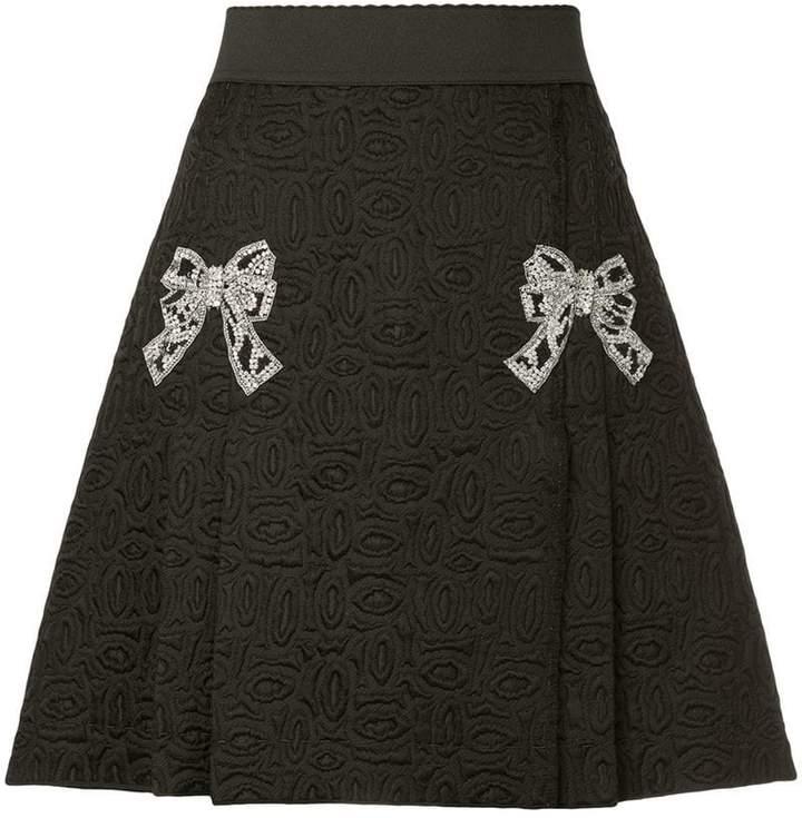 Dolce & Gabbana bow applique jacquard skirt