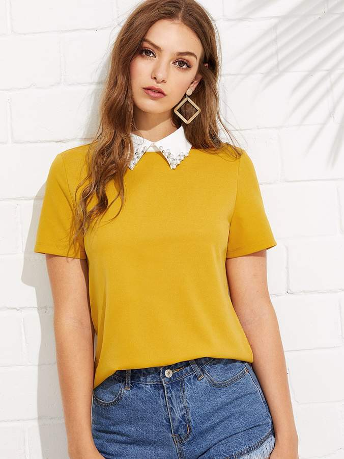 5748a57986 Contrast Collar With Faux Pearl Embellished Tee