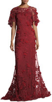 David Meister 3-D Floral Short-Sleeve Evening Gown