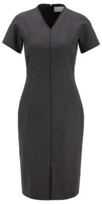 HUGO BOSS V Neck Dress In A Stretch Virgin Wool Blend - Patterned