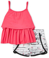 DKNY Girls 4-6x) Two-Piece Tiered Tank & Shorts Set