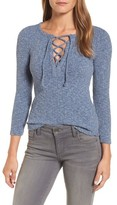 Lucky Brand Women's Lace Up Ribbed Top