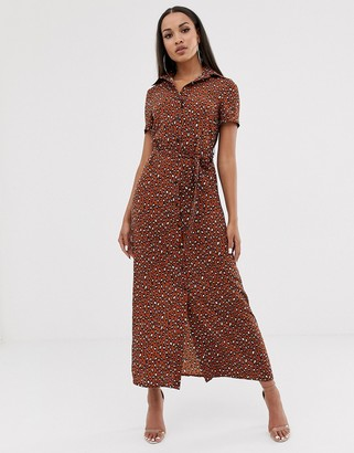 Club L London button through maxi shirt dress-Multi