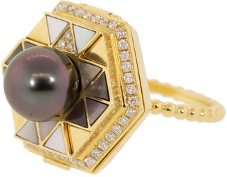 Harwell Godfrey Pearl Top Diamond Poison Ring