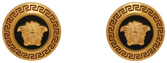 Versace Black and Gold Small Medusa Coin Earrings