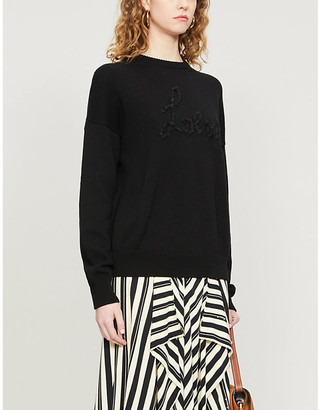 Loewe Logo-embroidered cotton-knit jumper