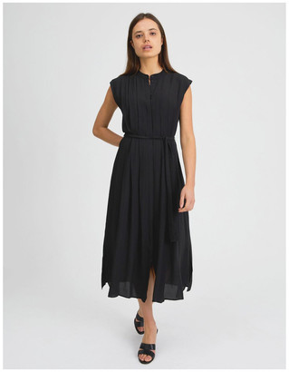 Basque Pleated Midi Dress