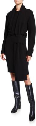 Bottega Veneta Brushed Wool Sweater Dress w/ Wrap Scarf