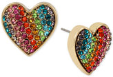 Betsey Johnson Gold-Tone Pavé Rainbow Heart Stud Earrings
