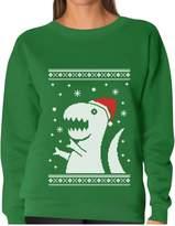 TeeStars - Ugly Christmas Sweater Big Trex Santa - Funny Xmas Women Sweatshirt