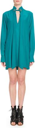 Chloé Long-Sleeve Open-Neck Silk Crepe de Chine Short Dress w/ Ring Scarf Detail