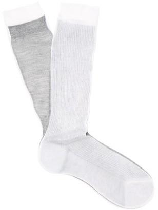 Raey Frankenstein Two-tone Silk Socks - White Multi
