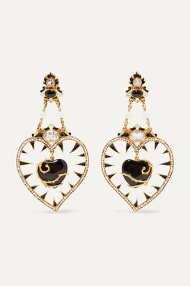 Papi Gold-plated Multi-stone Earrings - Black