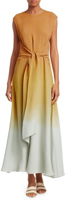 Lafayette 148 New York Winslet Prism Ombre Tie-Front Maxi Dress