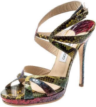 Jimmy Choo Multicolor Python Ankle Straps Open Toe Sandals Size 39