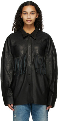 R 13 Black Leather Fringe Shirt