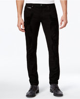 INC International Concepts Men's Destructed Faux-Leather Trim Skinny Jeans, Created for Macy's