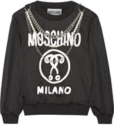 Moschino Embellished Printed Jersey Sweatshirt - Black