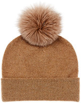 Barneys New York Men's Fur Pom-Pom Cashmere Beanie-TAN