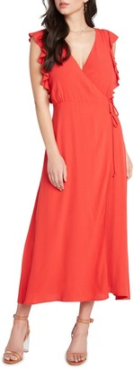 Willow & Clay Solid Wrap Midi Dress