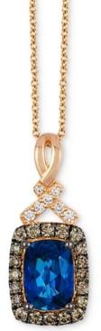 LeVian Le Vian Chocolatier Deep Sea Blue Topaz (9/10 ct. t.w.) & Diamond (1/5 ct. t.w.) Pendant Necklace in 14k Rose gold