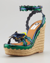 Lanvin Scalloped Metallic Leather Wedge Espadrille
