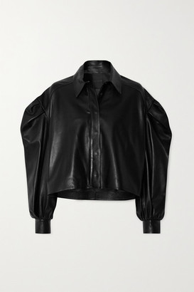 Valentino Cropped Leather Jacket - Black