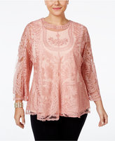 American Rag Trendy Plus Size Three-Quarter-Sleeve Embroidered Top