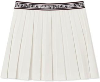 Tory Burch Tech Twill Geo-T Pleated Skirt