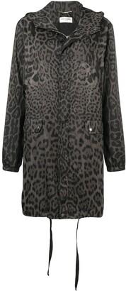 Saint Laurent leopard print hooded parka
