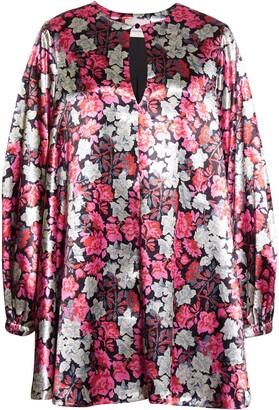 Cinq à Sept Beatrice Floral Satin Long Sleeve Shift Dress