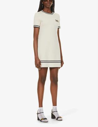 Gucci Chain-trimmed wool mini dress