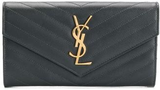 Saint Laurent Logo Applique Quilted Wallet