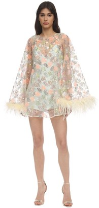 Alice McCall Sequined Lace Mini Dress W/ Feathers