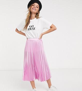 Miss Selfridge Petite pleated midi skirt in pink