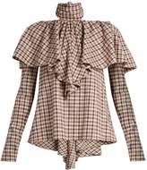 Rosie Assoulin Tie-neck ruffled gingham top