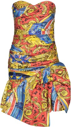 Moschino Baroque-Print Strapless Ruched Dress
