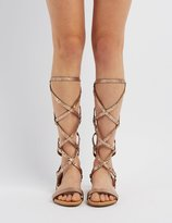 Charlotte Russe Bamboo Studded Knee-High Gladiator Sandals