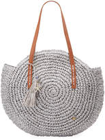 Capelli of New York Straworld Circular Woven Straw Shoulder Bag, Gray