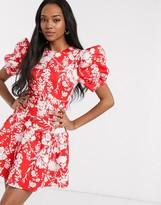 Asos Design DESIGN puff sleeve belted floral pep hem skater mini dress
