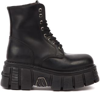 New Rock Black Leather Biker Boots