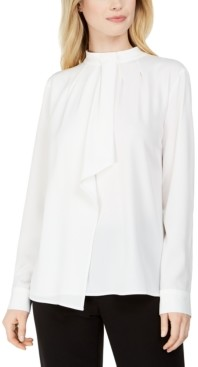 Calvin Klein Petite Long-Sleeve Ascot Blouse