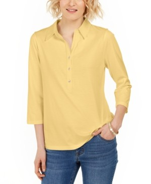 Charter Club Petite Supima Cotton 3/4-Sleeve Polo, Created for Macy's
