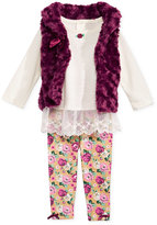 Nannette Baby Girls' 3-Pc. Faux Fur Vest, Lace-Hem Tunic & Floral-Print Leggings Set