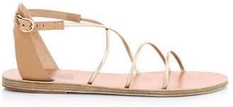 Ancient Greek Sandals Meloivia Flat Metallic Sandals