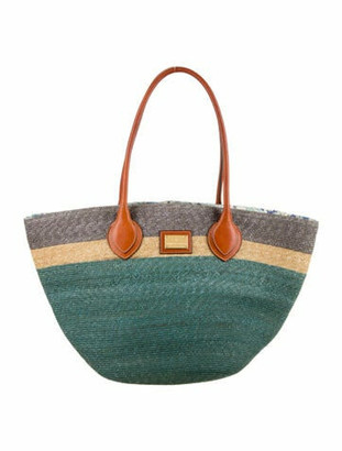 Emilio Pucci Raffia Striped Tote Bag multicolor