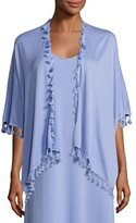 Joan Vass Draped Dolman-Sleeve Cardigan w/ Fringe Trim, Lavender, Plus Size