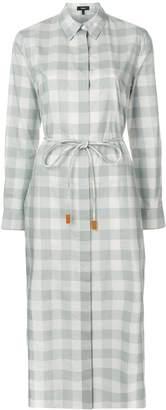 Theory check long-sleeve dress