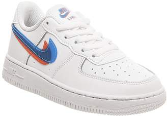 Nike Force 1 Ps Trainers White Blue Hero Bright Crimson Lv8